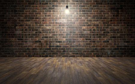 Empty brick wall room with wooden planks floor and lightbulb. 3d rendering Standard-Bild - 104851903
