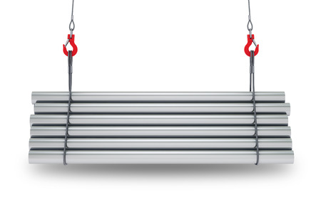Crane hooks with stack of steel metal tubes isolated on white background with clipping path. 3d rendering Standard-Bild - 104881456