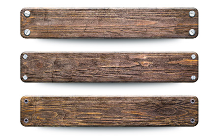 Old rough wood planks sign. Isolated on white with clipping path Stock Photo