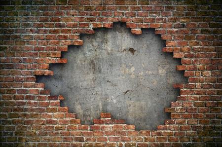 Old red brick wall damaged background Standard-Bild - 105285242