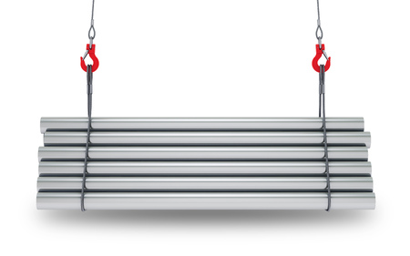 Crane hooks with stack of steel metal tubes isolated on white background with clipping path. 3d rendering Standard-Bild - 105285245