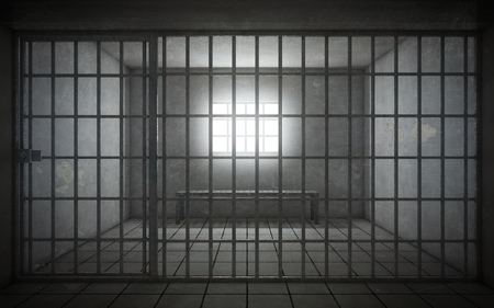 Prison cell with light shining through a barred window. 3d rendering Standard-Bild - 105285246