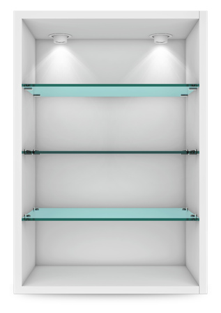 Empty white showcase with glass shelves for exhibition. islolated on white with clipping path. 3d rendering Standard-Bild - 105285247