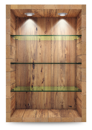 Empty wooden showcase with glass shelves for exhibition. islolated on white with clipping path. 3d rendering Standard-Bild - 105285248