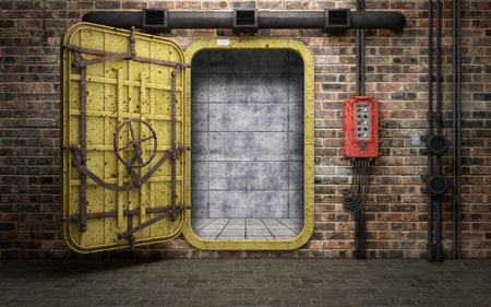 Armored heavy metal door in old underground bunker room. 3d rendering