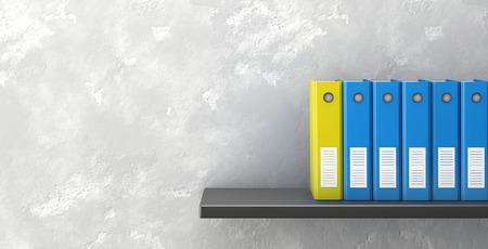 Office folders on shelf. 3d rendering Standard-Bild