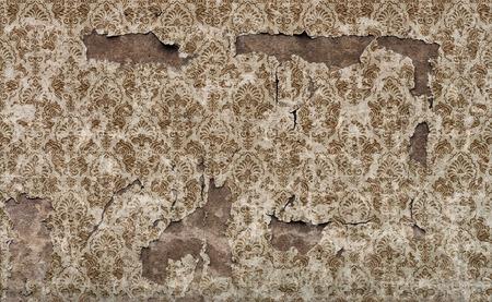 Old damaged vintage wallpaper wall background