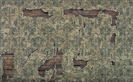 Old damaged vintage wallpaper wall background