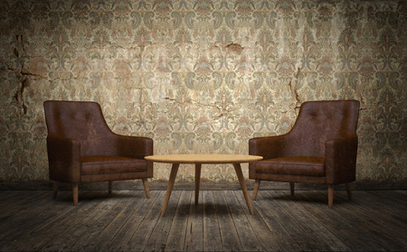 Old vintage room with leather chairs and coffee table. 3d rendering