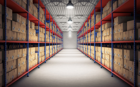 Rows of shelves with goods boxes in modern industry warehouse. 3d rendering Standard-Bild