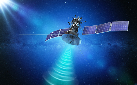 Communication satellite transmitting a signal in space. 3d rendering Standard-Bild