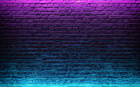 Modern futuristic neon lights on old grunge brick wall room background. 3d rendering Stockfoto