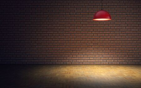 Empty room with brick wall and lamp. 3d rendering