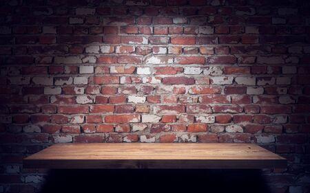 Empty wooden shelve on brick wall. 3d rendering