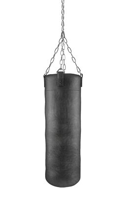 Black boxing bag on chains isolated on white background with clipping path