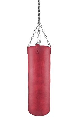 Red boxing bag on chains isolated on white background with clipping path Standard-Bild