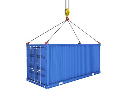 Sea container lifted with crane hooks. 3d rendering. isolated on white background