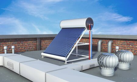 Solar water heater on roof, alternative energy. 3d rendering
