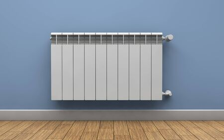 Heating radiator on wall. 3d rendering