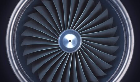 Jet engine turbine background. 3d rendering