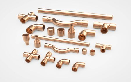 Set of copper pipes fittings. 3d rendering isolated on white