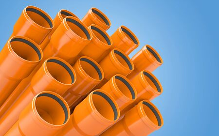 PVC plastic construction sever and water pipes.3d rendering