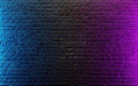 Modern futuristic neon lights on old grunge brick wall room background. 3d rendering Standard-Bild