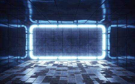 Dark abstract room with tiles and neon lights. 3d rendering