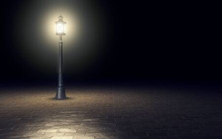 Illuminated streetlight on dark background. 3d rendering