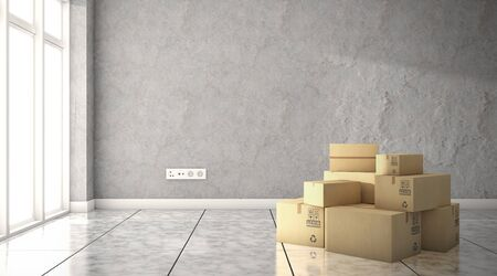 Empty room with cardboard boxes. moving to a new house. 3d rendering Standard-Bild