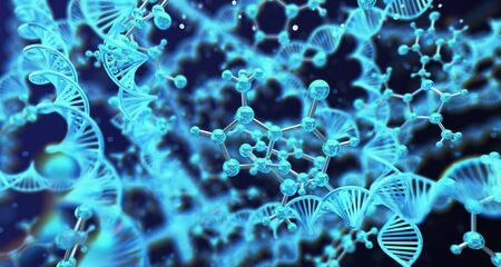 Abstract scientific molecular and dna structure background. 3d rendering