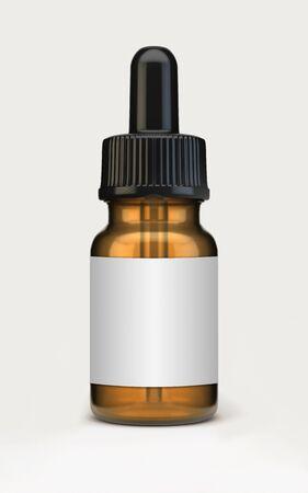 Dropper bottle mock-up isolated on white. 3d rendering