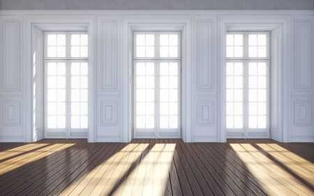 Clean bright room with windows. 3d rendering Standard-Bild