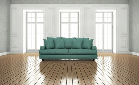 clean bright room with windows. 3d rendering
