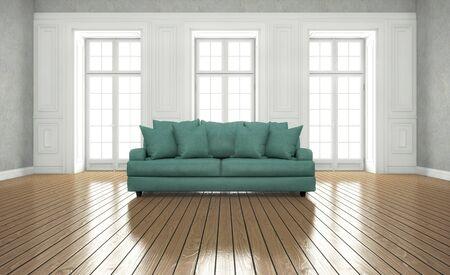 stanza pulita e luminosa con finestre. rendering 3d