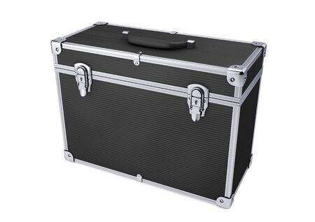 Black alluminium professional hard case isolated on white. 3d rendering