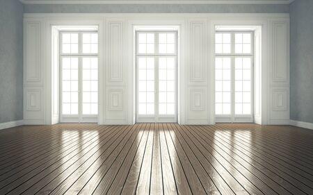 clean bright room with windows. 3d rendering Standard-Bild