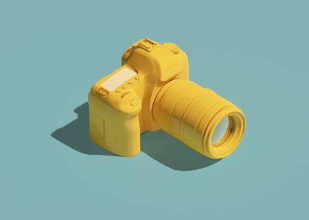 Yellow DSLR camera icon isometric view. 3d rendering Standard-Bild