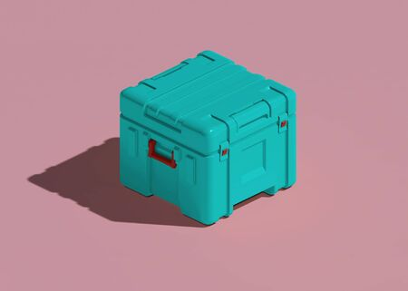 Plastic hard transportation case. isometric view. 3d rendering