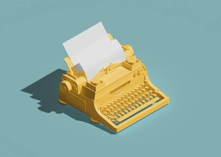 typewriter icon isometric view. 3d rendering