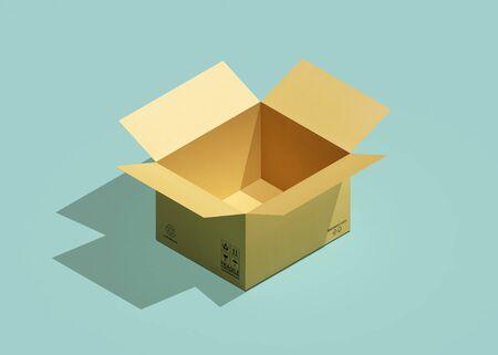 Cardboard box isometric view. 3d rendering Standard-Bild