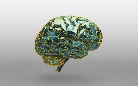 Low poly abstract digital human brain. Neural network. Science and Technology concept. 3d rendering Zdjęcie Seryjne