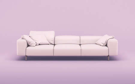 Fashionable comfortable stylish pink fabric sofa on pink background. 3d rendering