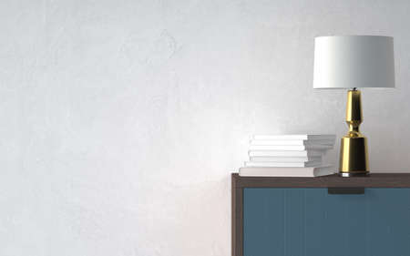 Modern table light with books on nightstand in empty bright room. 3d rendering