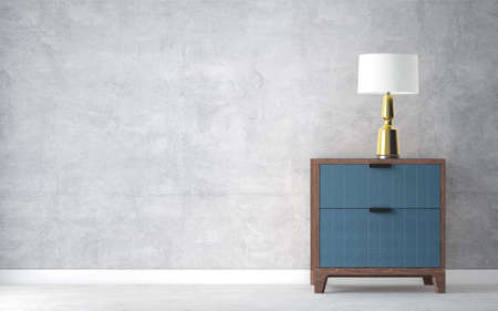 Modern table light on nightstand in empty bright room. 3d rendering Standard-Bild