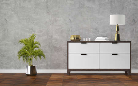 Modern scandinavian home interior with design wooden commode and decor. 3d rendering