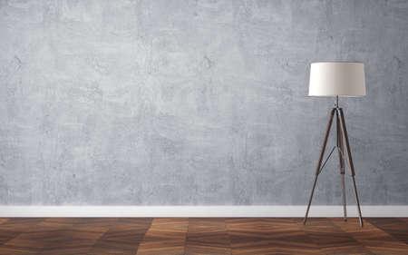 Empty interior with floor lamp and wooden parquet floor. 3d rendering Standard-Bild