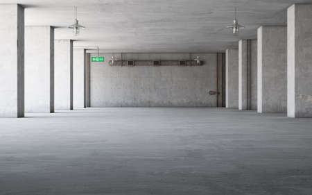 Abstract empty, modern concrete interior with pillars - industrial interior background template, 3D rendering