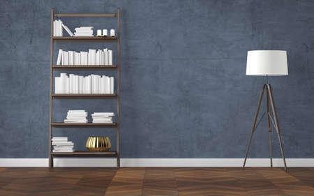 Empty interior with bookcase and tripod floor lamp. 3d rendering