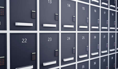 Metal storage lockers with code lock. 3d rendering